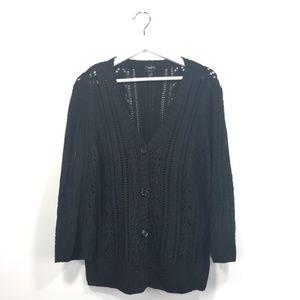 Talbots XL Cardigan Black Knit 3/4 Sleeves Cotton